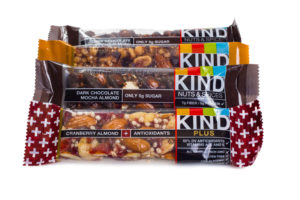 KIND bars are a low-sugar healthy snack to eat at work